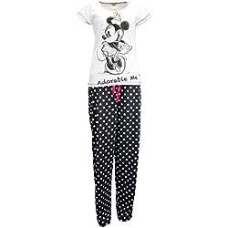 Minnie Mouse - Ensemble De Pyjamas - Minnie Mouse - Femme - Blanc/Noir - Small