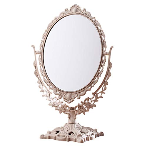Niñas mujeres maquillaje espejo vintage floral ovalado redondo mano princesa princesa maquillaje elegante...