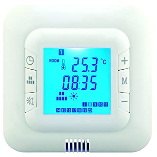 Hiwell Digital Underfloor Heating Thermostat. Suitable For Almost All Electric Heating Systems. Includes Floor & Air Sensor. Blue Back Light. Max 16Amp Load