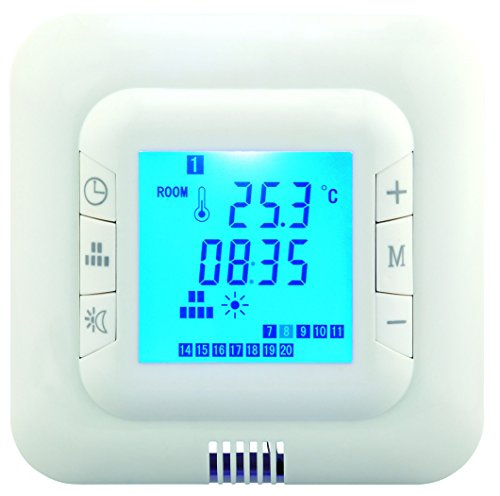 Digital Underfloor Heating Thermostat. Suitable For Almost All Electric Heating Systems. Includes Floor & Air Sensor. Blue Back Light. Max 16Amp Load Test