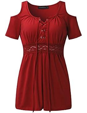ZANZEA Camisas Sin Hombros Manga Corta Cintura de Encaje Blusas tops Dulce Mujer