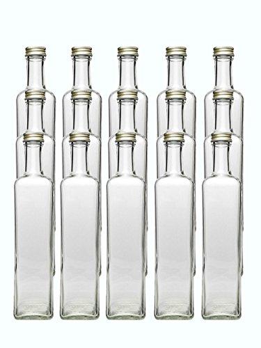 Glasflaschen Set mit Schraubverschluss Gold | 12 teilig | Füllmenge 500 ml | Maras Saftflaschen Likörflaschen Setzen Sie ganz einfach Ihr eigenes Öl oder Ihre eigenen Schnäpse und Liköre an