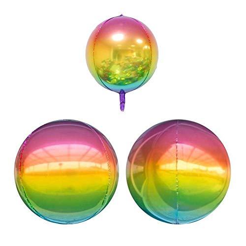 allon Set 20 Stück 22 Zoll 4D Regenbogen Farbverlauf Disco Folie Flip Über Den Ballon Hochzeit Thema Party Feier Dekoration ()