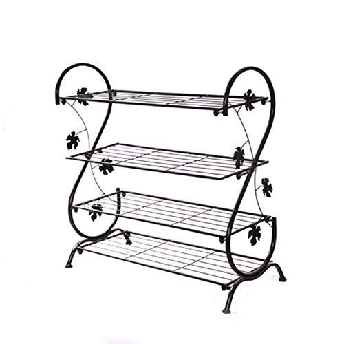 Quatre-couche chaussure rack fer forgé simple rack à chaussures multi-couche rangement chaussure armoire métallique petit Rack à chaussures,Black