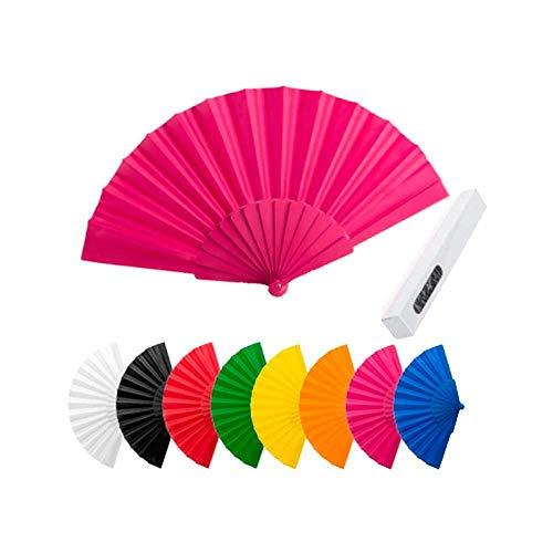 Lote 24 Abanicos plástico tela colores surtidos