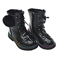 Girls Fashion Boots Patent Pom Pom Mid Calf Boot Many Size/Colours