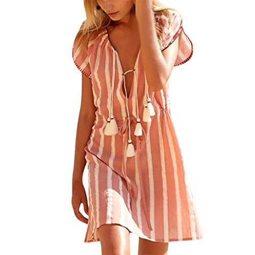 Damen Böhmischen Minikleid Sommer Gestreifter Druck Partykleid Rockabilly Kleid Freizeitkleider Mode Tunikakleid Abendkleider Elegent Cocktailkleid Swing Kleid