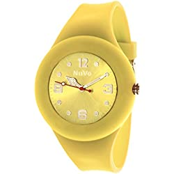 Nuvo - NU13H23 - Unisey Armbanduhr vom Armband abtrennbar - Gelbes Zifferblatt - Gelbes austauschbares Armband aus Silikon - Modisch - Elegant - Stylish