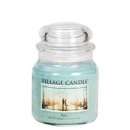 Village Candle Regen Duftkerze im Glas, 454 g, blau, 10.3 x 10.1 cm -