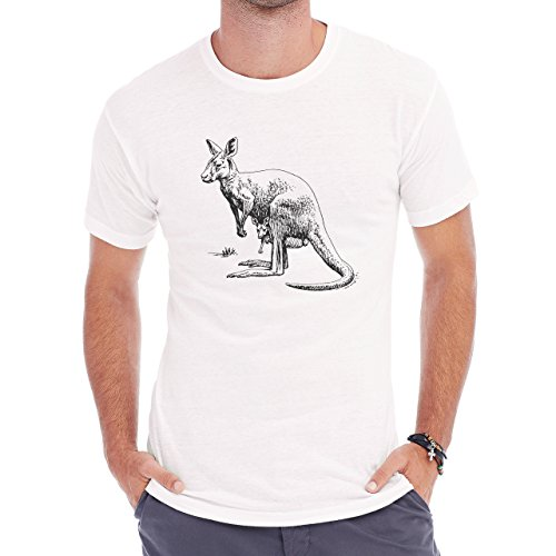 Kangaroo With Little Baby Black Herren T-Shirt Weiß