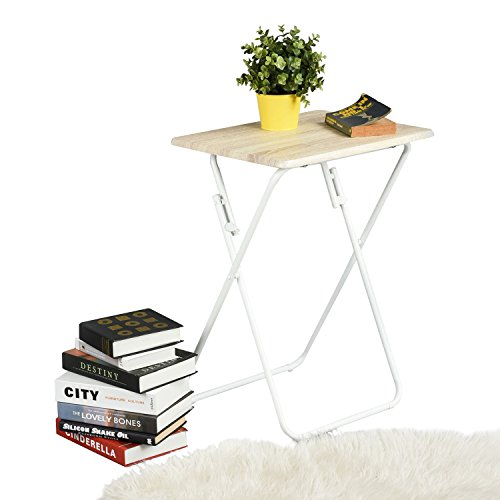 Aingoo Folding Table Small Snack Table Multi-Fuction Dinner Desk With Wood Top and Metal Frame,TV Laptop Trays for Home Office,Beech