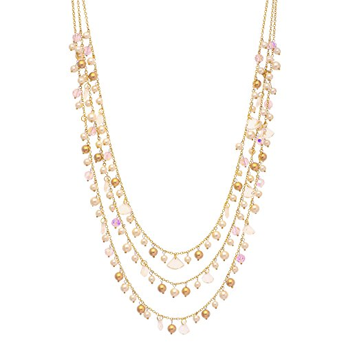 DCA Women's White,Purple & Golden Multi-Strand Glass and Metal Necklace (4413)