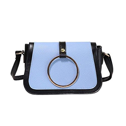 Dameart Und Weise Retro- Schulterbeutel Gefälschter Lederner Kurierdiagonalminihandtaschengurt,Blue Blue