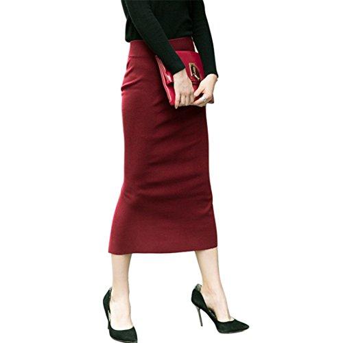 Vertvie Damen Stretch Bund Bodycon Maxirock mit Hintere Schlitze für Business Party Weinrot