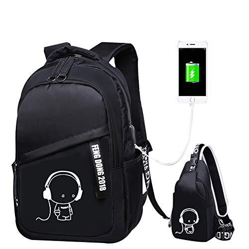 JUND Oxford-gewebe Schulrucksack für Jungen Schulrucksack Druck Rucksack Jugendlichen Schultasche Outdoor Reflektierender Daypack (Schwarz2)