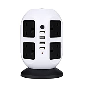 Elepawl 6.5ft / 2M Extension Lead  Vertical Power Strip - Multi-sockets Surge Protector, 8 Outlets & 4 USB Ports (2500W, 110-250V) Tower Power Socket Universal Jack Outlets with  for Home Appliances office Extention Cable