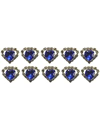 Jewellery of Lords 10 Blue Heart Shaped Large Coloured Crystal Hair Pin with Clear Mounted Crystals Hairpin