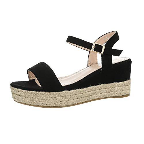 Ital-Design Damenschuhe Sandalen & Sandaletten Keilsandaletten Synthetik Schwarz Gr. 36 (Schwarze Sandalen Riemchen-kleid)