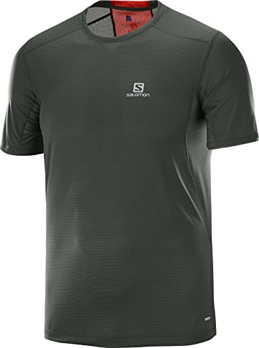 Salomon Runner, T-Shirt per il Trail Running Uomo Verde (Urban Chic/Fiery Rosso)