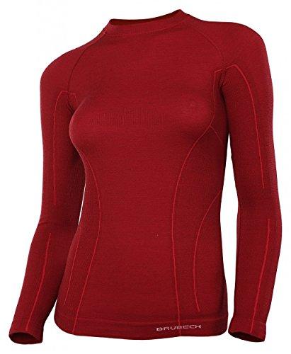 Brubeck Merino Damen Langarm Funktionsshirt | Atmungsaktiv | Thermo | Sport | Outdoor | Unterhemd | Unterwäsche | 41% Merino-Wolle | LS12810 XL Burgund -