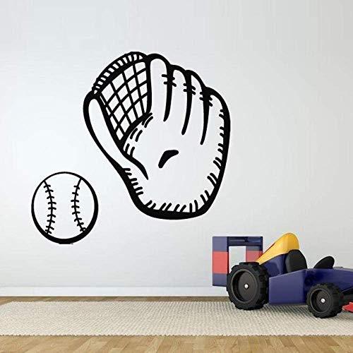 Wandaufkleber Baseball Handschuh Muster Vinyl Wasserdichte Abziehbilder Schlafzimmer Jungen Hobby Art Murals Vinyl Wandaufkleber Für Sportraum Aufkleber 46X42 Cm -