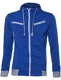 FEITONG TOP Detalles de los hombres del estilo adelgazan Sudadera con capucha de la cremallera Outwear la chaqueta de la capa del suéter