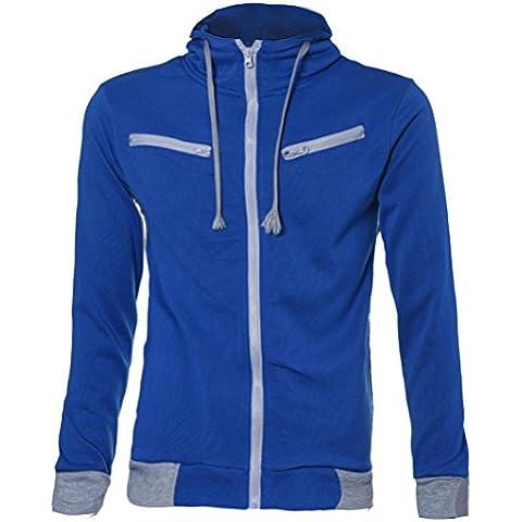 FEITONG TOP Detalles de los hombres del estilo adelgazan Sudadera con capucha de la cremallera Outwear la chaqueta de la capa del