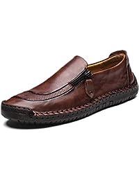 LIEBE721 Scarpe da Uomo in Pelle con Cerniera Moda Casual Sneaker da Barca Antiscivolo  e durevoli 39862e41bf7