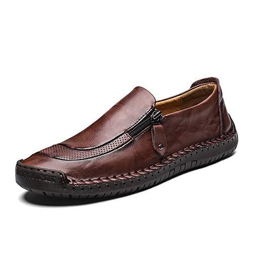 Liebe721 scarpe da uomo in pelle con cerniera laterale, comoda scarpa da barca alla moda, mocassini traspiranti durevoli