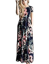 Vestidos Estampados Flores Mujer de Verano Cuello en V Manga 3 4 Cintura  Alta con Cinturón Vintage Bohemio Hippie Chic Caftan Tunica… 4ec7310916f6