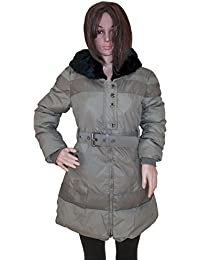 Kotak Sales Stylish Women's Winter Puffer Coat Warm Jacket Mid Length Overcoat Detachable Faux Fur Hood (KSJ-YB11150-3XL)