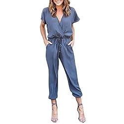 Damen Jumpsuit,Btruely Frau Chiffon Kurzarm Clubwear Spielanzug Bodycon Party Overall (Asien Größe:XL, Blau)