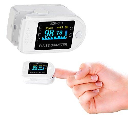 newgen medicals Sauerstoffmessgerät: Medizinischer Finger-Pulsoximeter mit OLED-Farbdisplay, exakte Messung (Sauerstoffmessgerät Finger) (Asthma Tasche Medizin)