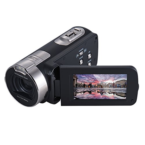 Andoer hdv-312p digital video camera 1080p hd domestico portatile da usare dv con 2.7 pollici schermo girevole lcd max. 20 mega pixel 16 × zoom digitale