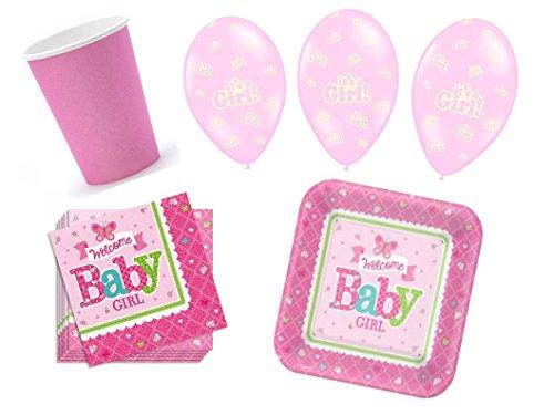 Partydekoset Babyparty Baby Shower Mädchen rosa für 16 Personen 52 teilig Pullerparty Baby Geburt Babyparty Komplettset Tischdeko Party Geschirr