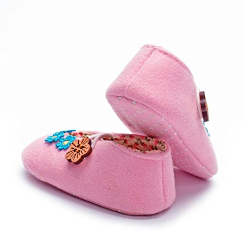 Igemy 1Paar Neugeboren Baby Mädchen Krippe Schuhe Soft Sole Anti-Rutsch Blume Turnschuhe Prewalker Schuhe Rosa