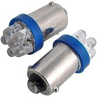 lampada allo xeno - SODIAL(R) 2 pezzi parcheggio luce 6 LED T4W BA9S xeno Ultra azzurro 12V