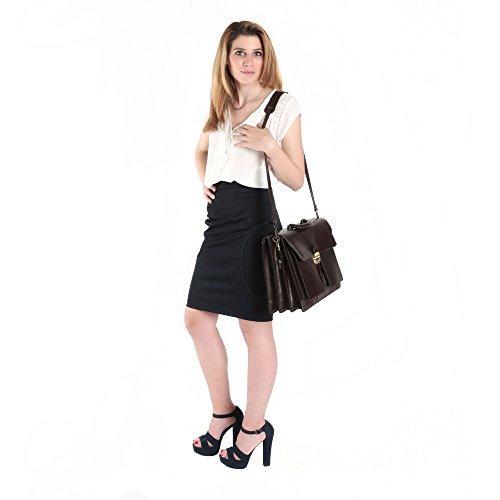 Aktentasche in italienischem Leder, Cartel, Mann und Frau Business Bag Made in Italy 39x30x18 cm Dunkelbraun