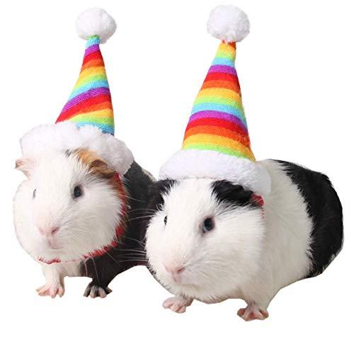 ANIAC Pet Weihnachten verstellbar Santa Hat für Hamster Meerschweinchen Kätzchen und Kleine Tiere Colorful