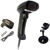 Black Handheld USB Laser Barcode Reader Bar Code Scanner with Cradle Holder Stand
