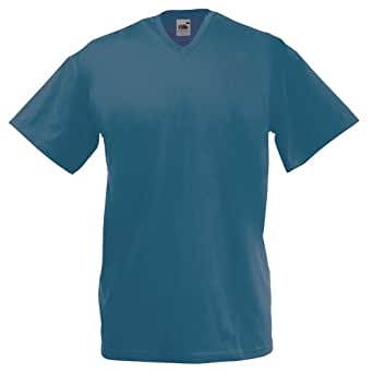 T-shirt à manches courtes et col en V Fruit Of The Loom pour homme, Bleu - Steel Blue, Small