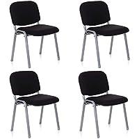 hjh OFFICE 704530 chaise de conférence 4 x XT 600 (lot de 4), noir/argent empilable