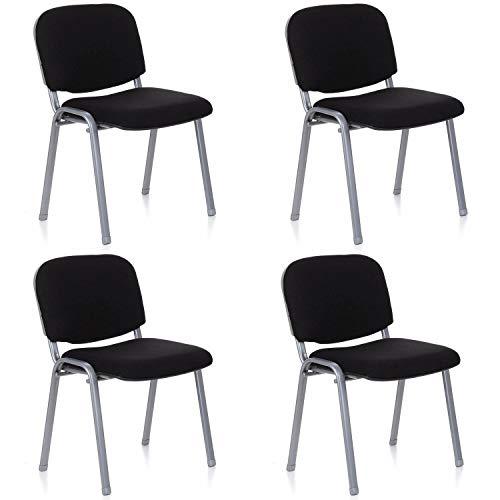 hjh OFFICE 704530 4er Set Besucherstuhl XT 600 Stoff-Bezug Schwarz/Silber Konferenzstuhl gepolstert, stapelbar - Nicht Gepolstert Bürostühle