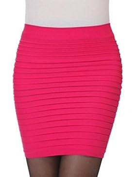 Gusspower Falda Mujer Casual, Faldas Cortas Elástico translúcido Plisado Alta Cintura Paquete Cadera