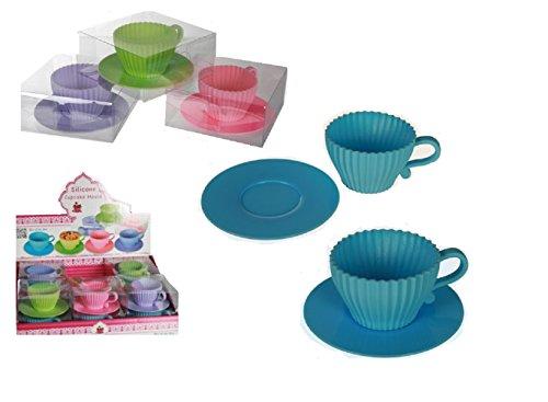 Unbekannt Backform/Silikon-Cupcake-Backförmchen / 4 Teetasse, für ca. 100 ml, ca. 11 x 5 cm, 4-farbig Sortiert, in PVC-Box
