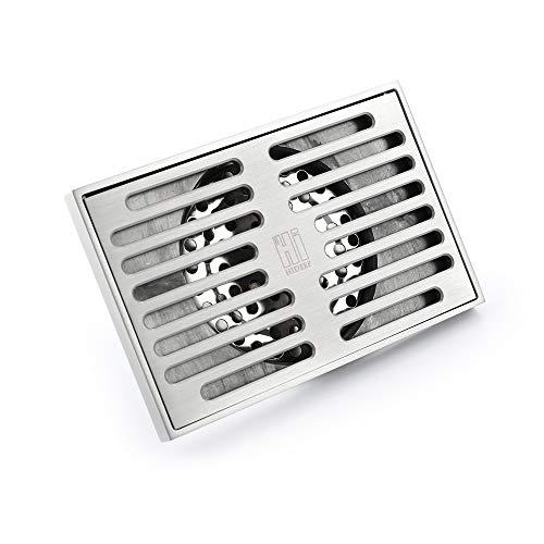 Preisvergleich Produktbild HHJJ Moderne gebürstete 5, 5-Zoll-Duschablauf Messing Bodenablauf Rechteckige Dusche Badezimmer Gartenablauf Large Flow Desodorierung verhindern Rückfluss,  Silber