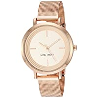 Nine West Women's Gold-Tone Mesh Bracelet Watch Rose Gold