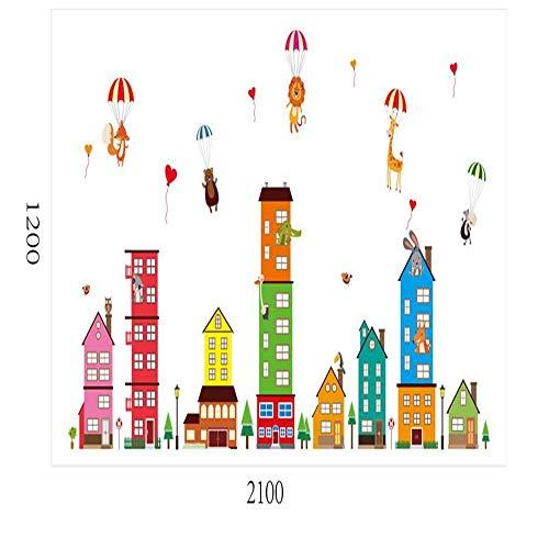 CHENYAN Wandaufkleber City Building Wall Stickers Children'S Room Bedroom Children'S Wall Applique Murals 3D Bear Giraffe Home Decoration
