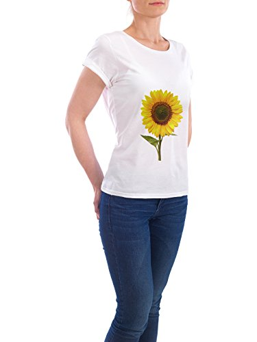 """Design T-Shirt Frauen Earth Positive """"Sunflower"""" - stylisches Shirt Floral Geometrie Natur Essen & Trinken Liebe Fashion von Paper Pixel Print Weiß"""