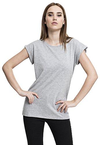 Urban Classics TB771 Ladies Extended Shoulder Tee - Kurzarm Basic T-Shirt für Damen mit Rundhals Ausschnitt und Weit Geschnittenen Turnup Ärmeln - Grey, Größe S (S/s Grau T-shirt)